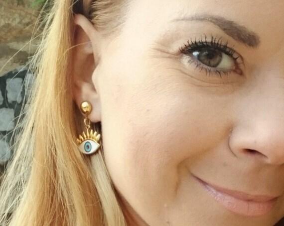 Eyelash Evil Eye Studd Earrings / Gold Plated Brass Earrings / Enameled Evil Eye / Handmade Earrings