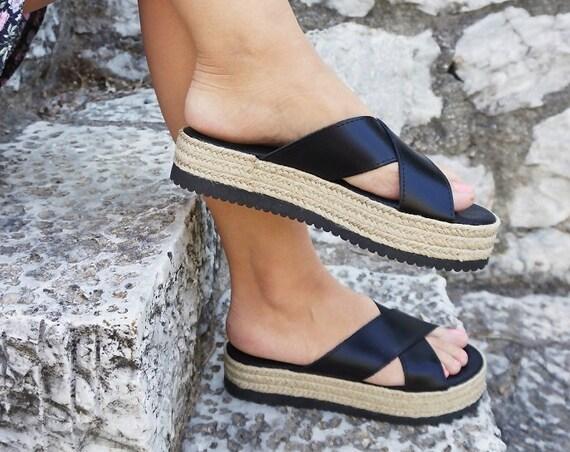 Black / Copper Leather Flatform Sandals / Crisscross Straps Espadrilles / Genuine Greek Leather/Rubber & Jute Sole/Summer Slippers