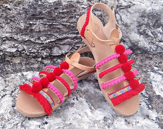 "Pom Pom ""Strawberry"" Boho Sandals / Lace Stripe Sandals/ Genuine Greek Natural Leather / Rubber Sole / One ankle Strap Gladiator Sandals"