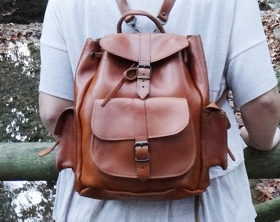 Brown Tan Leather Small Rucksack • 3 pocket Backpack • Tobacco Color • Full Grain Leather • Unisex Small Size Bag