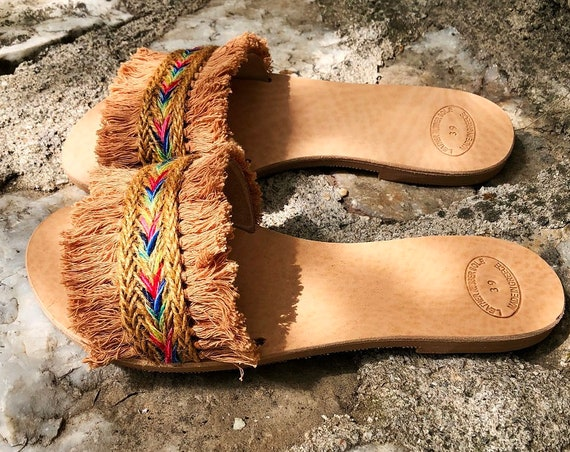 "Slide Sandals /  Boho Leather Sandals ""ZANZIBAR"" / Tan Cotton Fringe Lace / Jute Lace / Handmade Greek Leather / Strappy Leather Sandals"