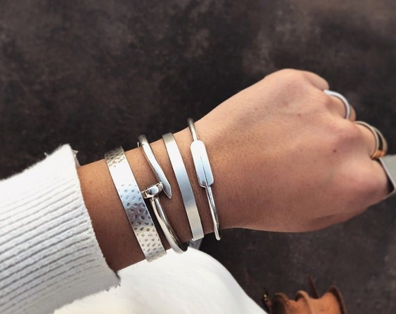 ALICE Combo of 4 Bracelets / Silver Statement Cuff Bracelet Set / Silver Plated Brass / Stacked Bracelets / Layered Bracelets