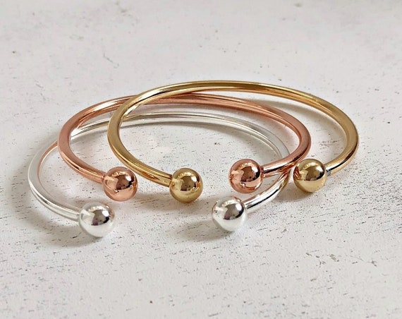 Balls Bracelets Bangle Cuff Bracelet Cuff Bracelets Ball Bracelet Gold, Silver and Rose Gold Plated Stacked Bracelets