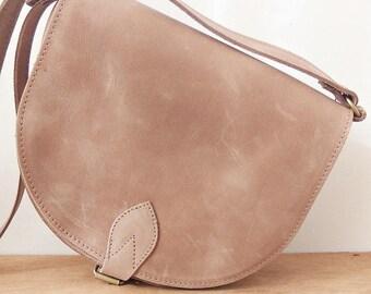 "Mocha Leather ""Athena"" Bag / Leather Crossbody Saddle Bag / Greek Handmade Leather Handbag / Taupe Color"