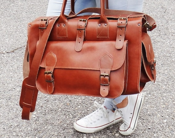 "10% OFF Apollo 16"" Weekender Bag/ FREE SHIPPING Gym Bag/Full Grain Leather Duffle Bag/Tobacco-Camel Color/Adjustable Shoulder Carry/Travel"
