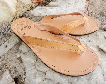 df4b6eb0a8a Greek Artisan Handmade Natural Color Leather Flip Flop  Ancient Greek  Leather Sandals