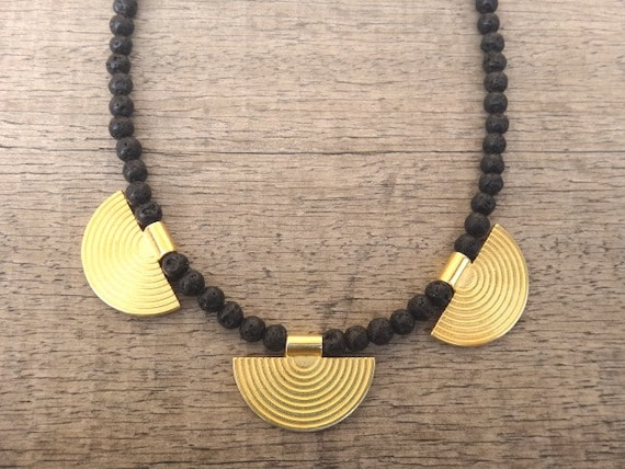 Greek Style Gold plated Brass Elements Black Lava Gemstones Handmade Unique Necklace Ancient Beauty / Coachella Style