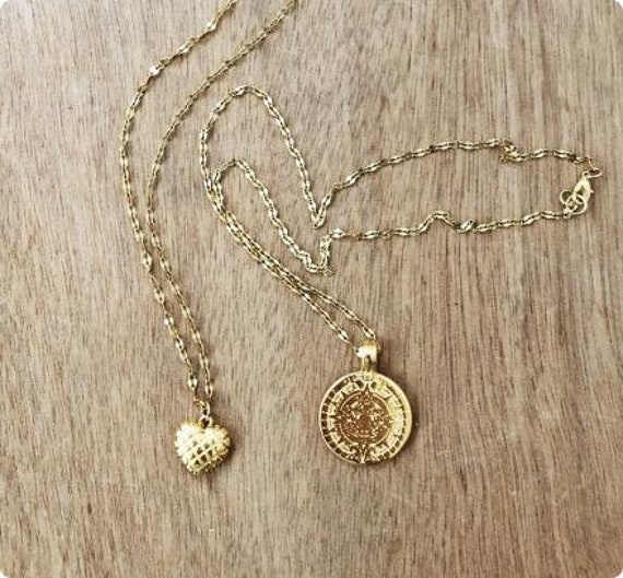 Heart & Maya Disc Necklaces • Gold Boho Layered Necklaces • Gold plated Brass • Steel Chain • Boho Gypsy Chain Necklace