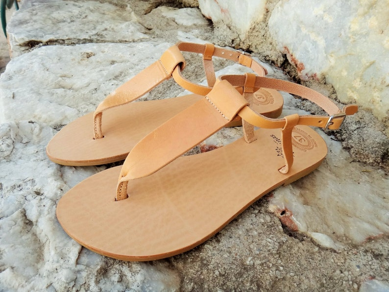 111f7495ed333 Ancient Greek Leather Sandals / Natural / Gold / Silver / T-bar Genuine  High Quality Greek Leather Sandals