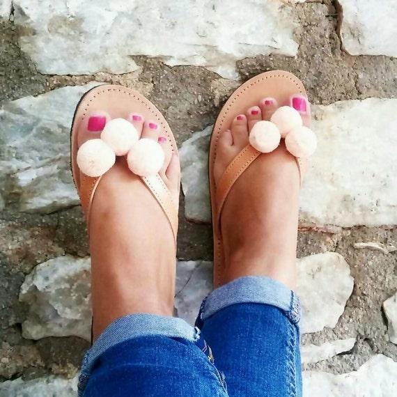 Peach Pom Pom Leather Sandals / Handmade Natural Color Leather Flip Flop/ Greek Leather Sandals / Light Salmon Pom Poms