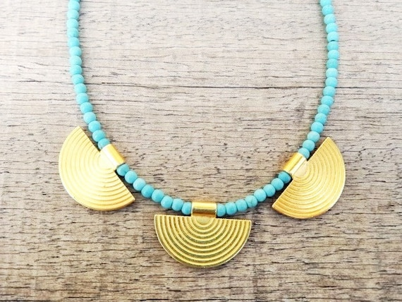 Ancient Beauty Greek Style Necklace / Gold plated Brass / Turquoise Howlite Gemstones Handmade Necklace / Bridesmaids Gift