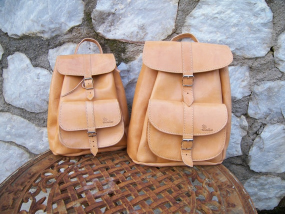 Tan Leather Medium Backpack / Twininas High Quality Full Grain Leather / Unisex Greek Medium Size Backpack Bag