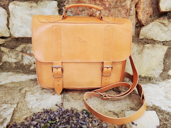 "Leather 15"" Laptop/Briefcase Bag/Greek Genuine Leather 3 pocket Messenger / Satchel Bag / Adjustable shoulder carry"