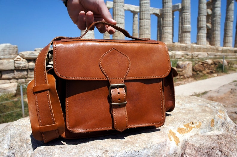 3ca2fc2841 Tan Leather DSLR Camera Bag with Padding Greek Messenger Bag