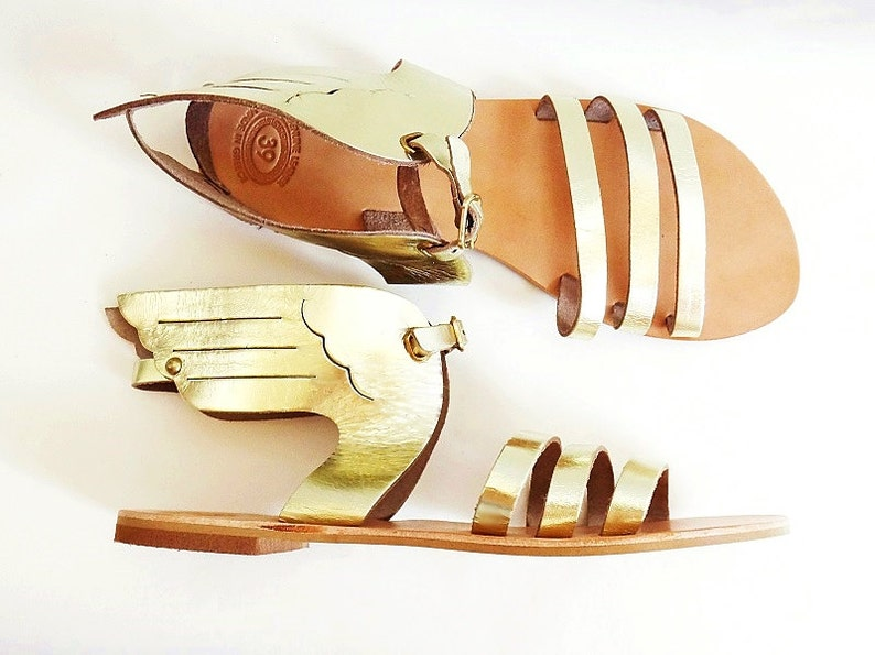 66ffe5dc893e4 Hermes Gold Sandals/Ancient Greek High Quality Leather w Stripes/Gold  Color/Slingback Strap Winged Sandals