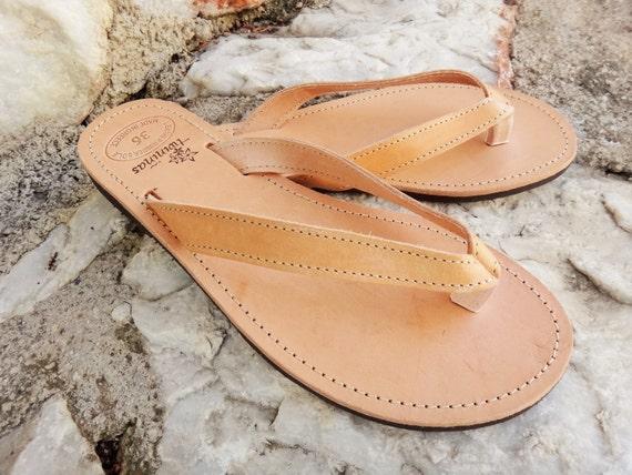 Greek Artisan Handmade Natural Color Leather Flip Flop/ Ancient Greek Leather Sandals