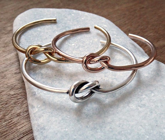 Knot Bangle Cuff Bracelet Set / Layered Bracelets / Gold, Rose Gold, Silver Plated Bangles / Handmade Bangle Stacked Bracelets