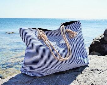 XL Canvas Beach Bag / Blue Navy Stripes / Rope Cord Closure / 100 Cotton / Big Tote  / Vacation / Summer Large Beach Bag