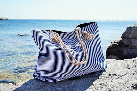 XL Canvas Beach Bag / Blue Navy Stripes / Rope Cord Closure / 100 Percent Cotton / Big Tote  / Vacation / Summer Large Beach Bag