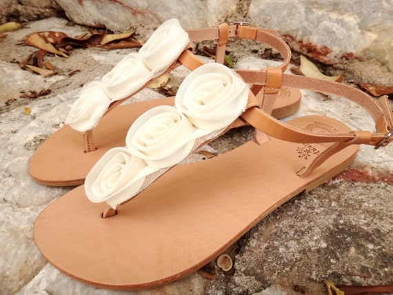 Ivory Rose Bridal Sandals/Wedding /Handmade Natural Leather/T-bar Leather Floral Sandals/Genuine High Quality Leather
