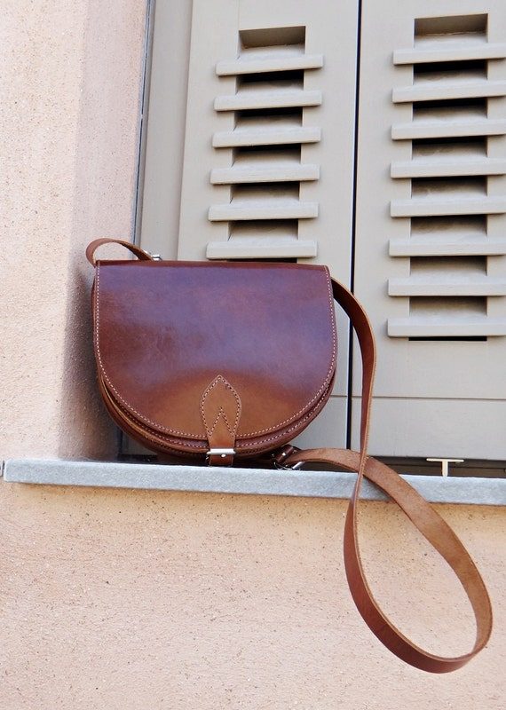 "Brown Leather ""Athena"" Bag / Leather Crossbody Saddle Bag/Greek Handmade Leather Handbag / Brown & Dark Brown Color"