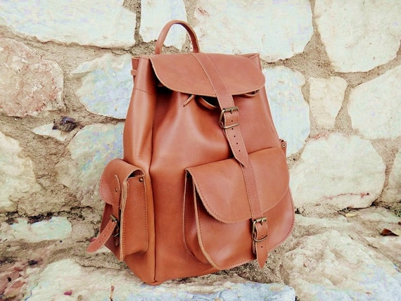 Brown Large Tan Leather Unisex Rucksack/Backpack/Overnight Twininas Oiled Greek Handmade Full Grain Leather Bag