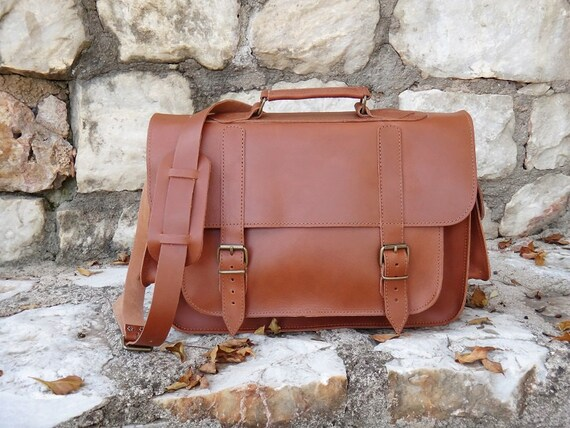 "Leather 15"" Laptop / Messenger Bag / Greek Genuine Leather 2 pocket Briefcase / Satchel Bag / Oiled tan leather /Adjustable shoulder"