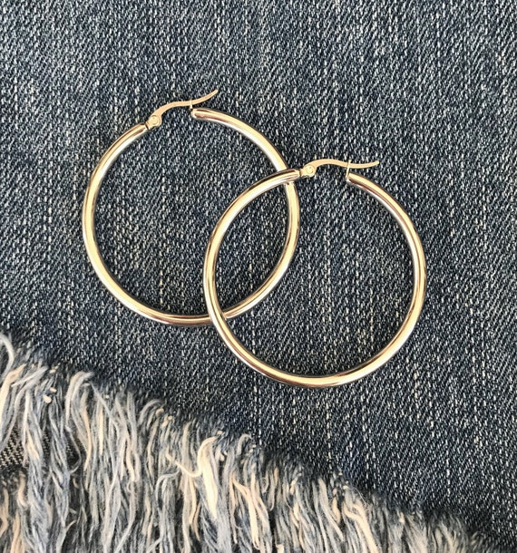 Silver / Gold ''Isabela'' Hoop Earrings / Stainless Steel Hoops / Gold Plated Hoop Earrings / Boho Silver Jewelry