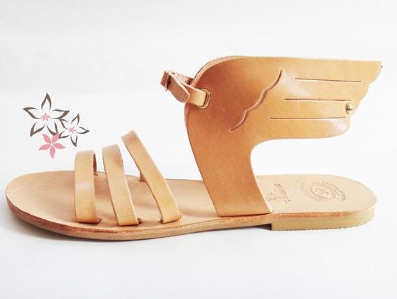 Hermes Sandals/Ancient Greek High Quality Leather w Stripes/Natural Color/Slingback Slides Strap Winged Sandals