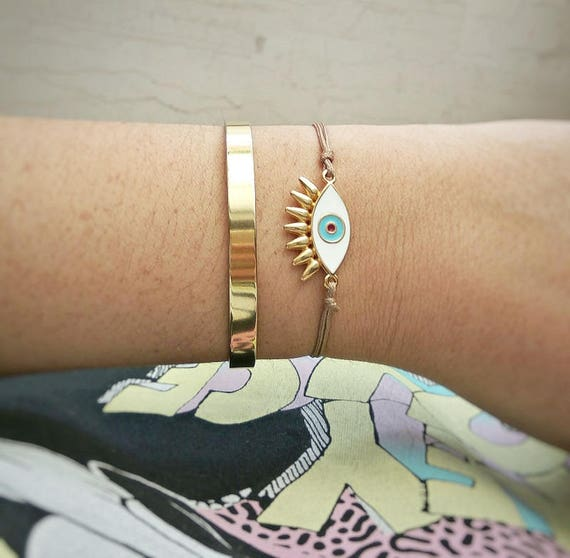 Gold Layered Bracelets • Cuff Bracelet • Eye Bracelet • Eyelashes evil eye • Gold Plated Bangle • Handmade Stacked Bracelets