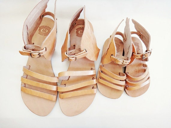Mom & Me / Hermes Sandals /Genuine Greek High Quality Leather Sandals with Stripes/Natural Color Leather/Slingback Slides Strap Sandals