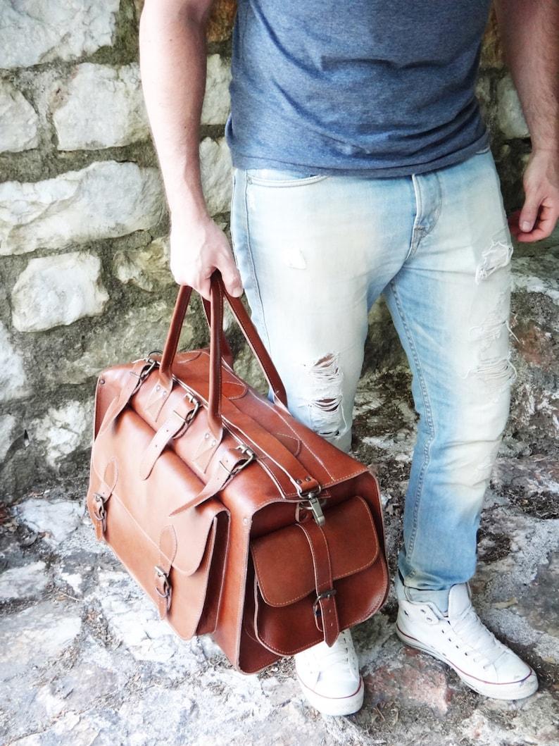 Apollo Weekender Original Leather Bag  20 Handmade Full image 1