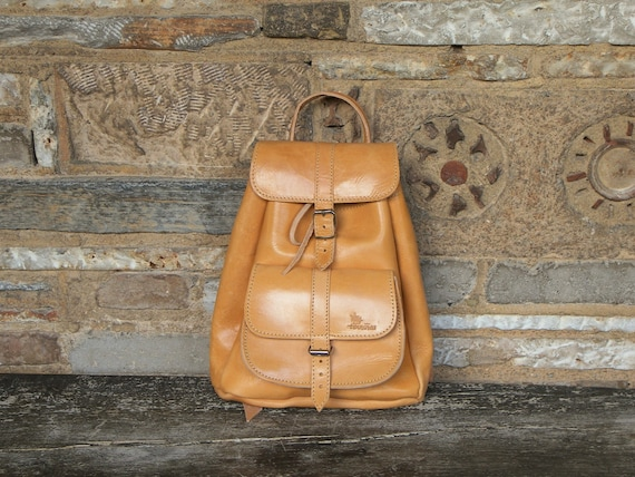 Tan Leather Small Backpack / Twininas High Quality Full Grain Leather / Unisex Greek Small Size Backpack Bag