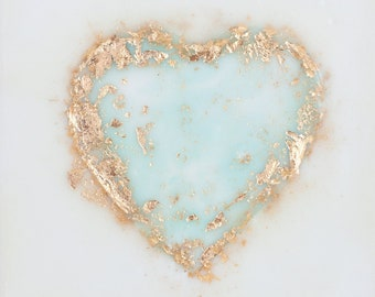 Aqua Gold Leaf Heart - 6x6 inches
