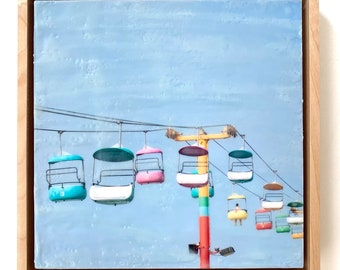 Boardwalk I - 8x8 Limited Edition Photo Encaustic Painting - Framed