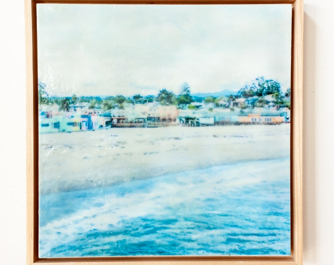 Village View - 10x10  Limited Edition Photo Encaustic Painting - Framed