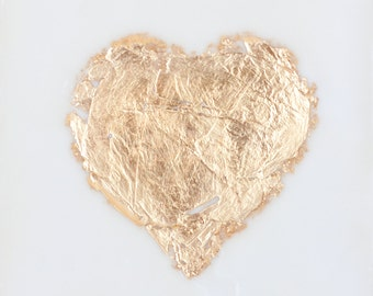 Simple Gold Leaf Heart - 6x6 inches