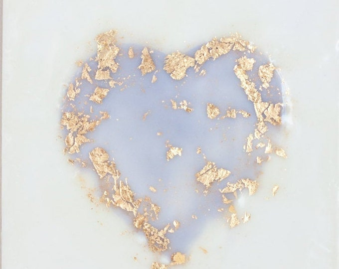 Lavender Gold Leaf Heart - 6x6 inches