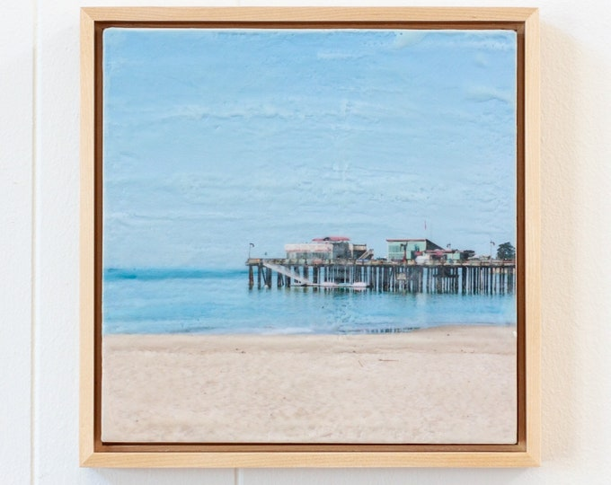 Capitola Morning - 16x16Limited Edition Photo Encaustic Painting - Framed