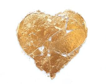 Encaustic Gold Leaf Heart - 6x6 inches