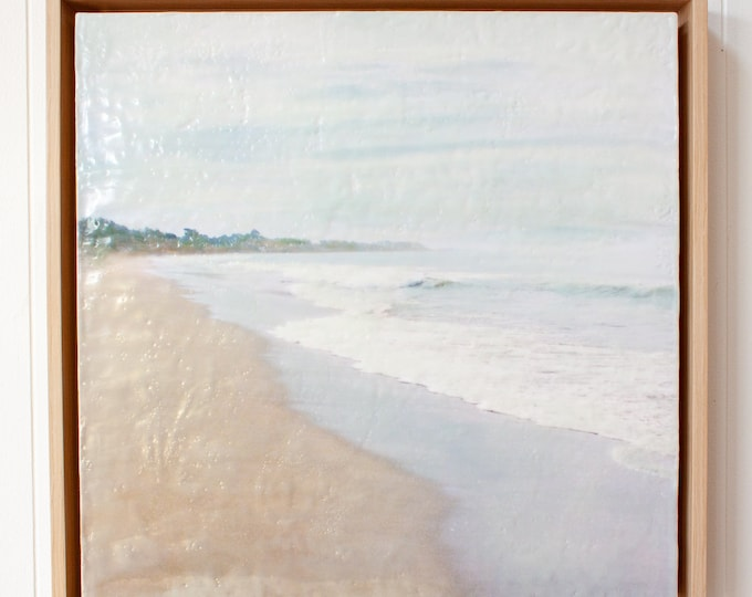 Morning On Hidden Beach - 16x16 Limited Edition Photo Encaustic Painting - Framed