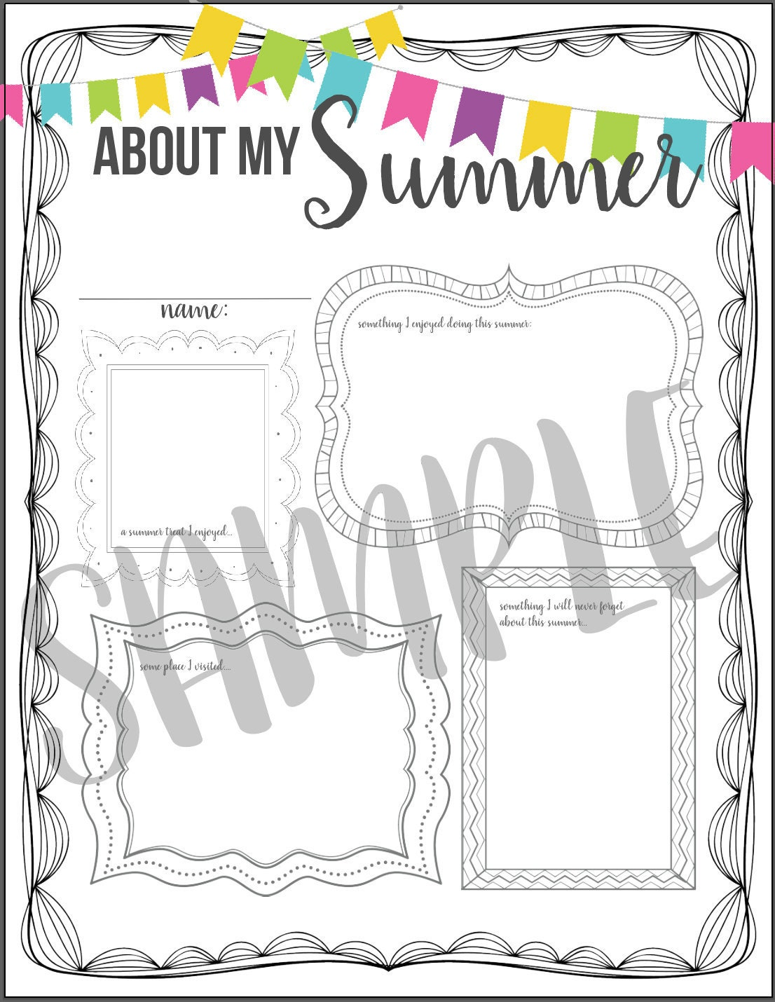 32f194edd5e INSTANT DOWNLOAD  About My Summer Back to School Activity