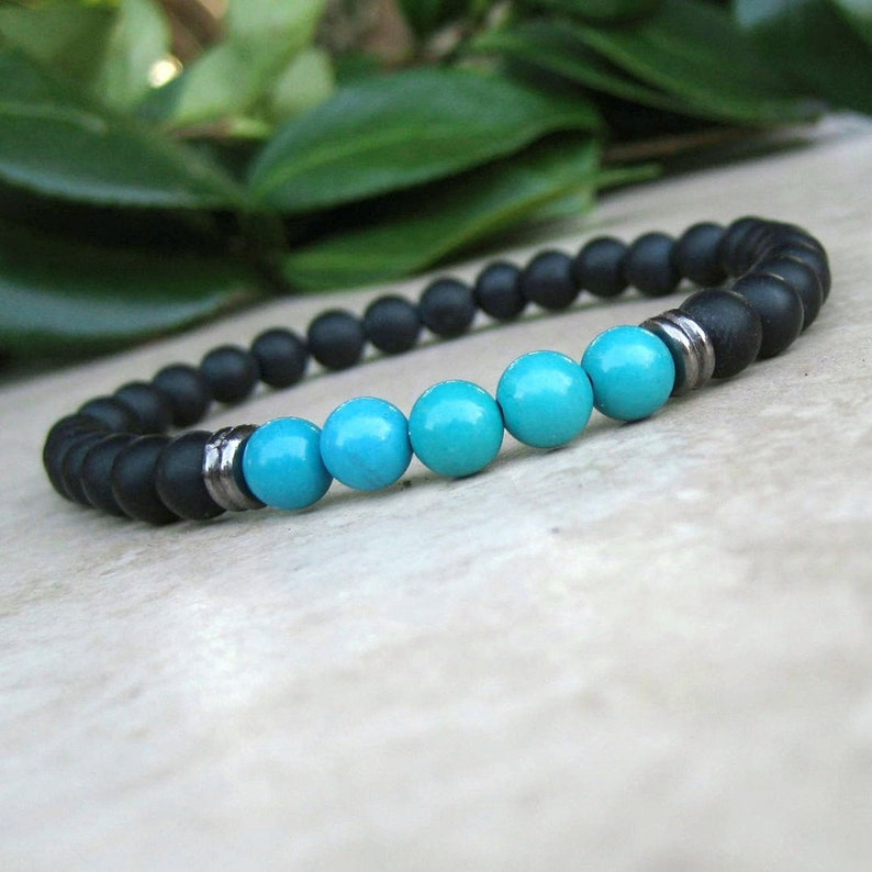 ed0294d2a1 Black Onyx & Turquoise Bracelet Energy Yoga Bracelet Healing | Etsy