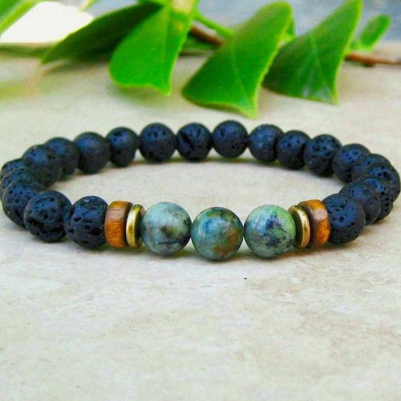 8MM African Turquoise Buddhist Bead Bracelet Handmade Meditation Wrist Stretchy