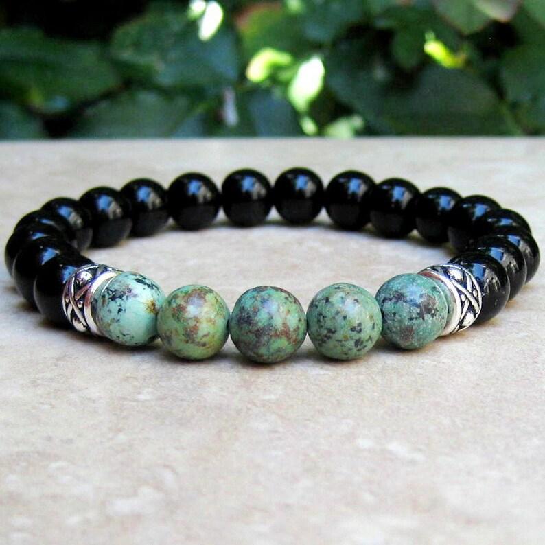 18007ba7cf African Turquoise and Black Onyx Unisex Bracelet Gemstone | Etsy