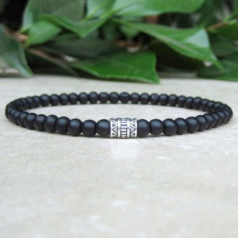 c0171f7b89 Male Bracelet 4mm Matte Black Onyx Gemstone Stretch Bracelet | Etsy