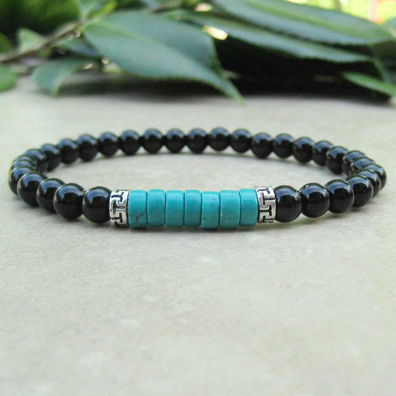 cab412a5bf Turquoise and Black Onyx Healing Bracelet Yoga Bracelet | Etsy
