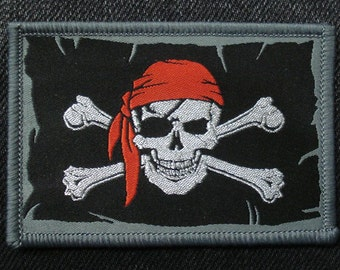 Pirate Skull with Red Scarf Woven Patch Sew On