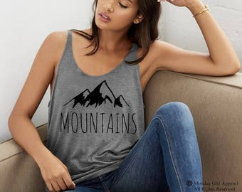 Mountains Tri blend Slouchy layering Tank Top Beach Coverup Shirt
