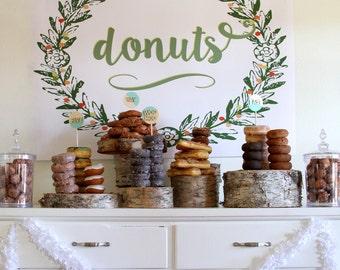 donut/doughnut bar printable poster-sized sign for your donut bar or doughnut station (downloadable file)